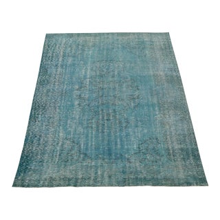 "Vintage Turkish Overdyed Distressed Hand Knotted Wool Rug - 9'7"" X 6'7"" For Sale"