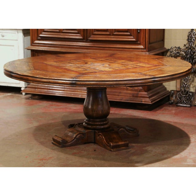 Mid-Century French Carved Walnut Pedestal Round Dining Table With Parquetry Top For Sale - Image 13 of 13