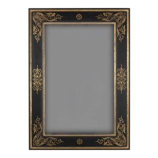Vintage Baroque Style Black & Gold Leaf Mirror For Sale