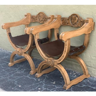 19th Pair of Carved Walnut Leather Savonarola Bench or Settee Preview
