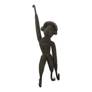 Vintage Mid-Century Wicker Rattan Hanging Monkey For Sale
