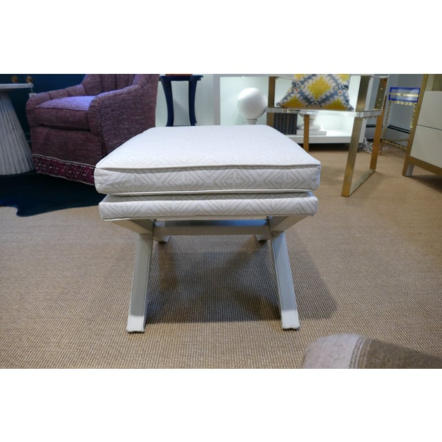 Contemporary Modern Quadrille & Leather X-Benches- A Pair For Sale - Image 3 of 11
