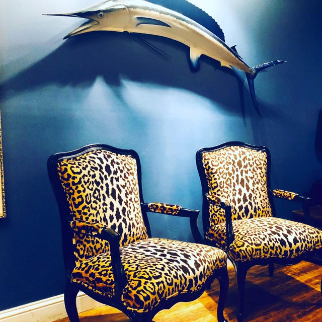 Black Lacquered Jamil Velvet Leopard Armchairs - A Pair For Sale - Image 12 of 14