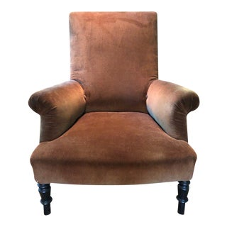 1960s Traditional Holland and Sherry Chestnut Corduroy Armchair For Sale
