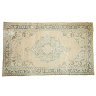 "Vintage Distressed Oushak Carpet - 5'11"" X 9'10"" For Sale"
