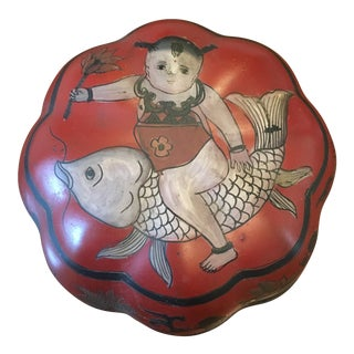 "Chinese Lacquered ""Boy on Fish"" Box"