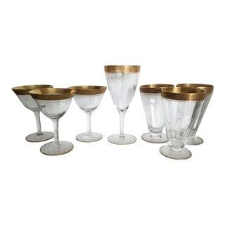 Vintage Crystal and Gold Gilt Tiffin Rambling Rose Glassware - Set of 7 For Sale
