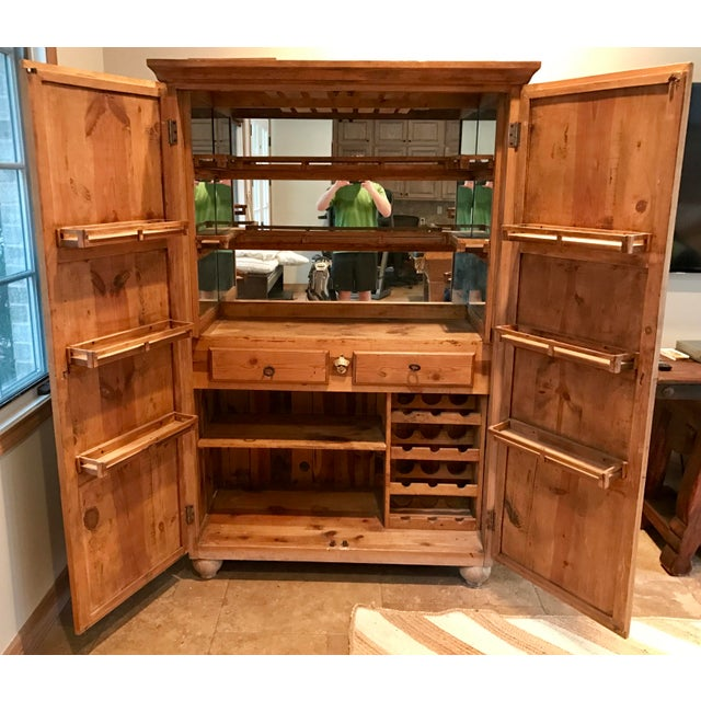 Customized Mexican Pine Cantina Dry Bar Cabinet