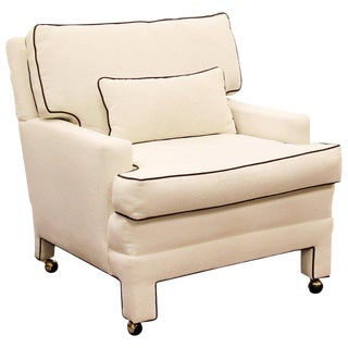Mid-Century Modern Large White with Brown Trim Lounge Armchair For Sale