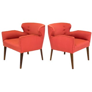 Mid-Century Sculptural Club Chairs, a Pair