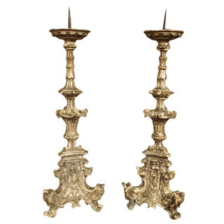 Pair of 17th Century Italian Giltwood Candlesticks For Sale