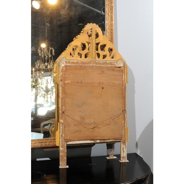 French French Louis XV Style Giltwood Mirror with Hand Carved Liberal Arts Symbols For Sale - Image 3 of 10
