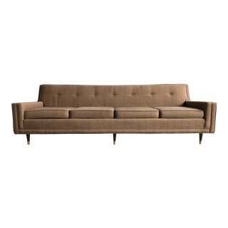 Mid Century Modern Bohemian Mauve Pink Four Seat Sofa Danish Modern Retro Style