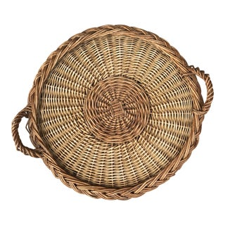 1970s French Country Wicker Basket Tray For Sale