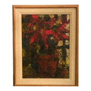 1960s Ron Blumberg, American Oil on Panel Poinsettia in a Pot, Framed For Sale