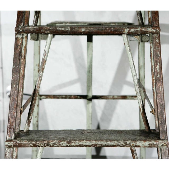 Vintage Painted Ladder as a Display Stand For Sale In Los Angeles - Image 6 of 10