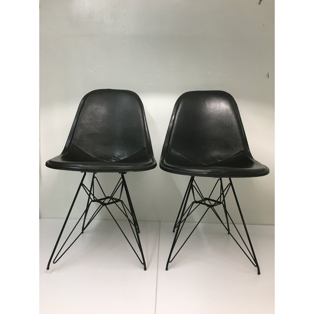 Vintage Eiffel Side Chairs in Black Naugahyde by Charles Eames for Herman Miller - a Pair For Sale - Image 13 of 13