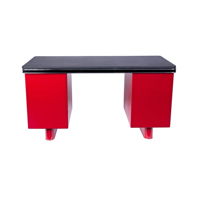 Bauhaus Wonderful Art Deco Metal Desk By Bauhaus For Sale - Image 3 of 8