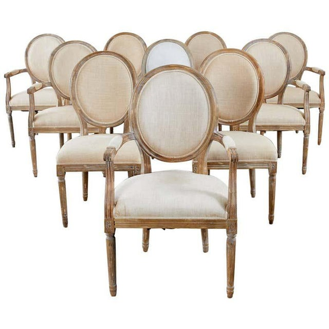 French Louis XVI Style Oak Dining Chairs - Set of 10 For Sale - Image 13 of 13