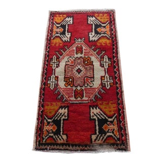 Distressed Low Pile Rug Turkish Yastik Hand Knotted Small Rug Faded Mat For Sale
