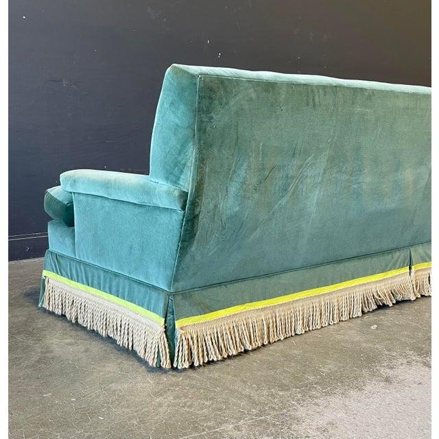 Vintage Custom Green Velvet Sofa For Sale - Image 4 of 5