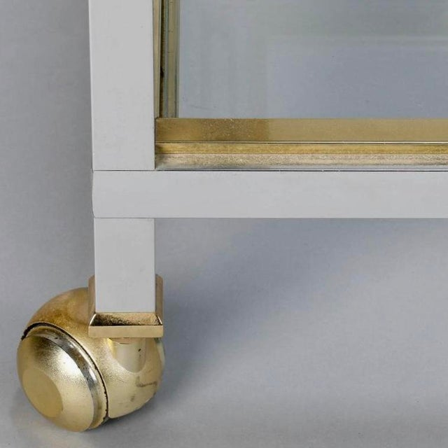 Mid Century Chrome Brass and Glass Serving Trolley in Style of Maison Jansen - Image 5 of 8