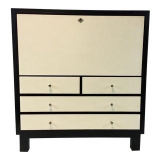 Modern Black and White Bernhardt Shagreen Desk Cabinet For Sale