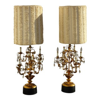 Pair of Tall French Provincial Gold Crystal Table Lamps W Shaggy Lampshade For Sale