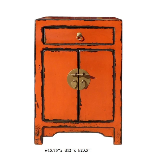 Oriental Orange Moon Face End Table Nightstand - Image 5 of 5