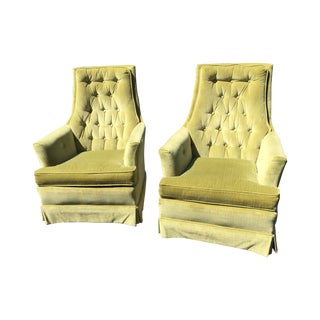 Vintage Velvet Tufted Club Chairs - A Pair