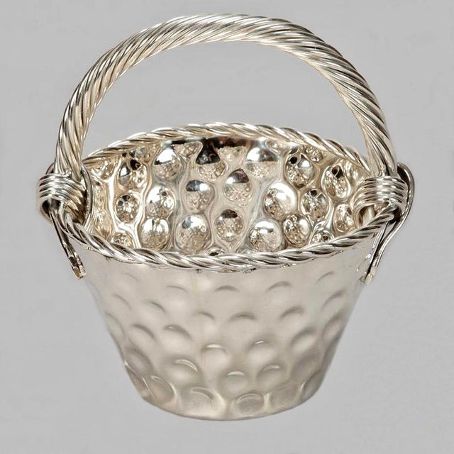 Mid Century Hammered Silver Plate Tall Handled Basket - Image 2 of 8