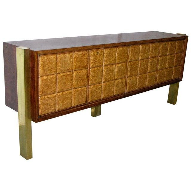 1940s Minimalist Dark & Light Wood Cabinet Sideboard on Brass Legs For Sale - Image 12 of 12