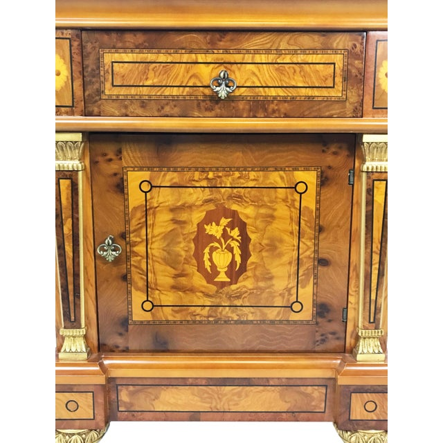 Ash 20th Century English Style Nightstands With Floral Marquetry- a Pair For Sale - Image 7 of 11