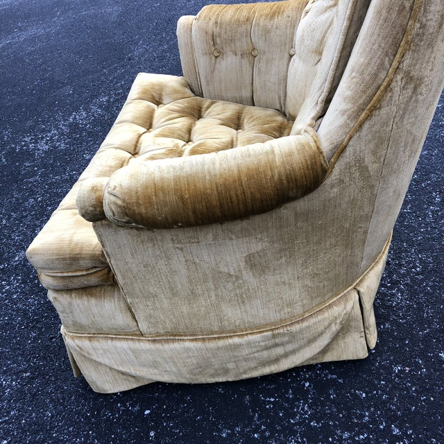 1970s Vintage Hollywood Regency Style Velvet Tufted Tassel Club Chairs - A Pair For Sale - Image 10 of 13