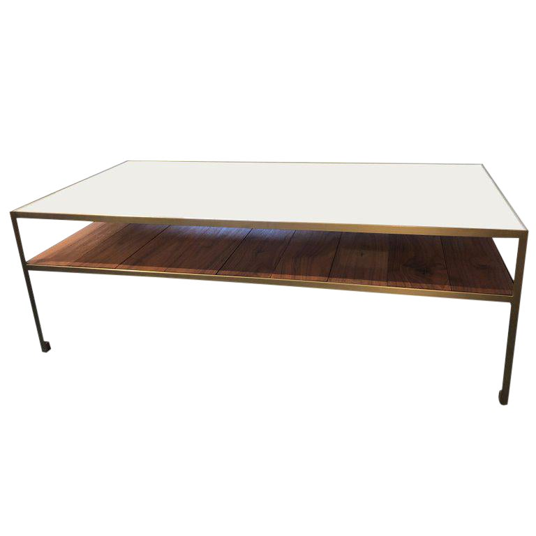 Superior Angle Steel Coffee Table With Gold Frame White Glass