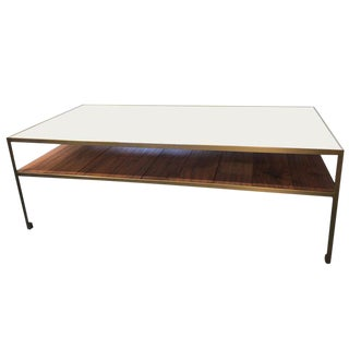 Angle Steel Coffee Table With Gold Frame, White Glass Top and Walnut Slats For Sale