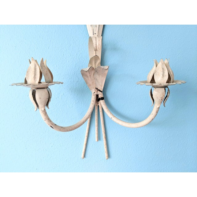 Metal Large Mid 20th Century Italian Tole Yellow & Orange Lily Wall Sconces- a Pair For Sale - Image 7 of 11