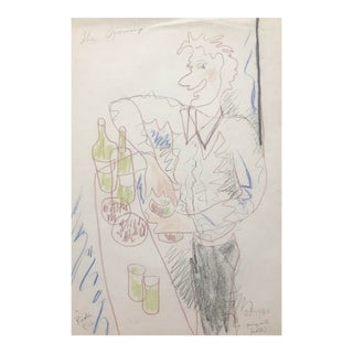 1984 Bartender Drawing by James Bone For Sale