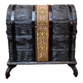 Late 19th Century Antique Swiss Black Forest Trunk For Sale