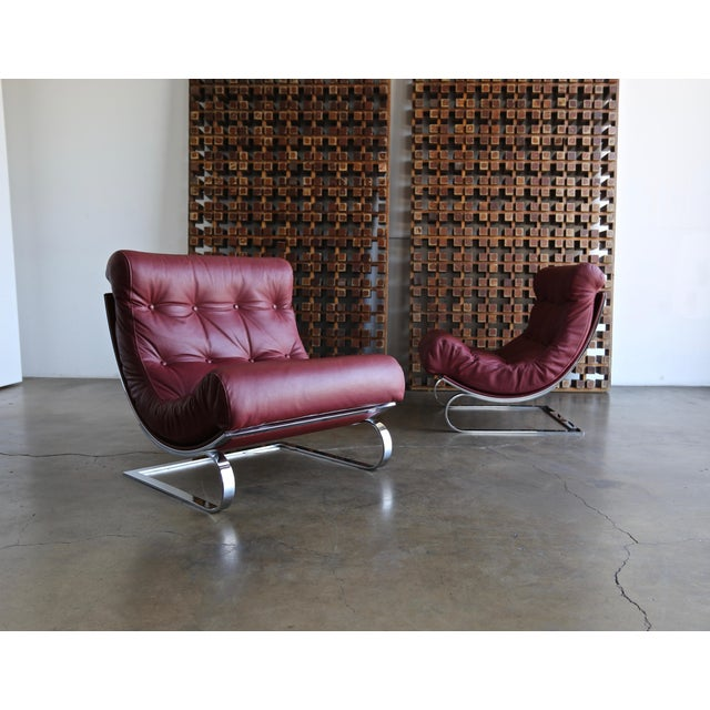 Renato Balestra Leather Lounge Chairs for Cinova Italy, Circa 1970 For Sale - Image 11 of 11