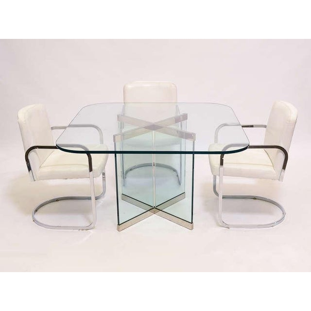 Glass & Chrome Dining Table by Leon Rosen for Pace Collection - Image 6 of 10