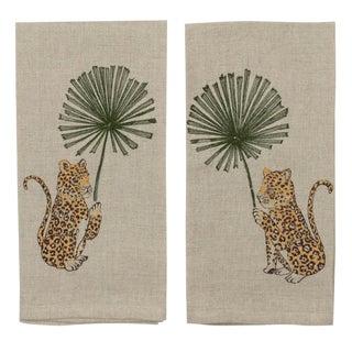2010s French Ecru Linen Jaguar Palm Tea Towels - Set of 2