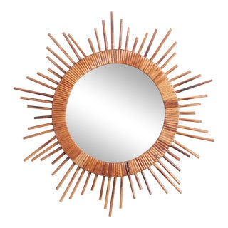 1970s Rattan Sunburst Mirror For Sale