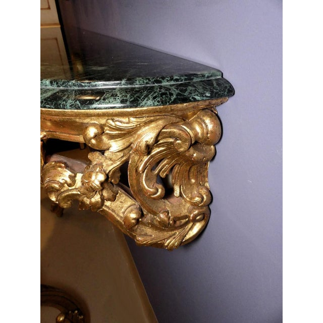 French Louis XV Wall Mount Marble Top Giltwood Console Table For Sale - Image 10 of 12