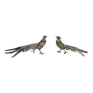 Silver-Tone and Gold Metal Pheasant Figurines - a Pair For Sale