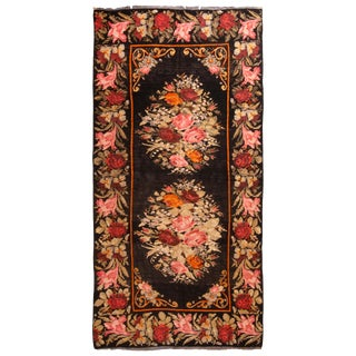 Vintage Bessarabian-Design Turkish Red and Pink Wool Kilim Rug - 5′11″ × 11′11″ For Sale
