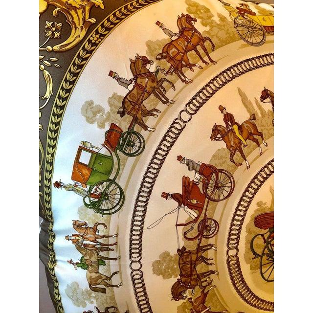 Silk Enormous Hermes 'La Promenade De Longchamps' Overstuffed Silk Pillow For Sale - Image 7 of 11