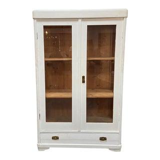 Vintage White Vitrine Cabinet For Sale
