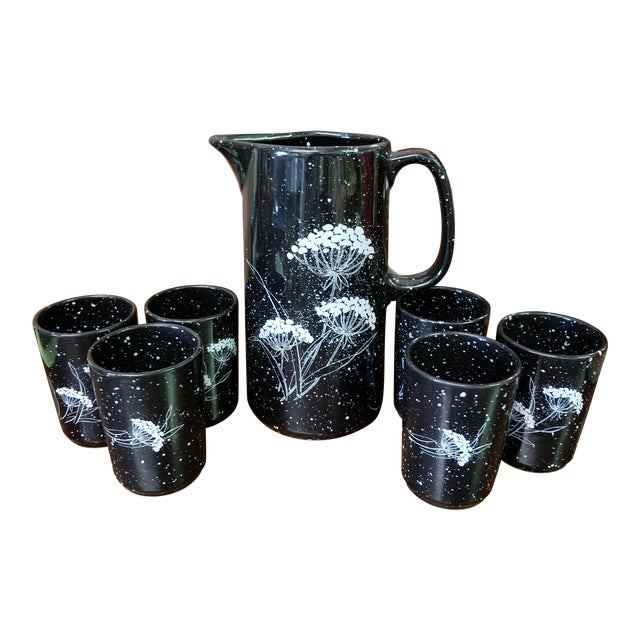 1970s Traditional Winterling W. Germany Ceramic Pitcher and Six Glasses - 7 Piece Set For Sale