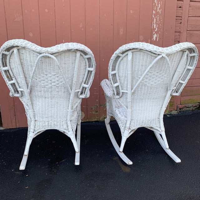 Rustic Pair of Antique Wicker Rocking Chairs For Sale - Image 3 of 5